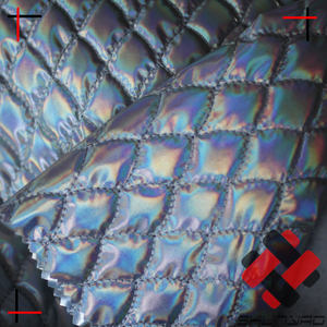 polyester colorfull silver foiled diamond quilted fabric for jacket