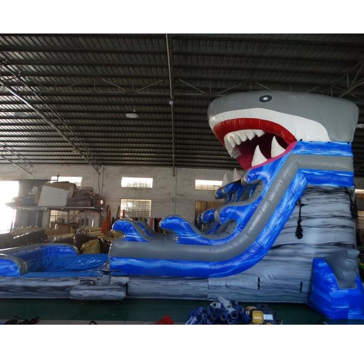 Inflatable Slide Water Slide Commercial 18.5ft Ocean Wave Dual Lanes Shark Inflatable Water Slide For Sale
