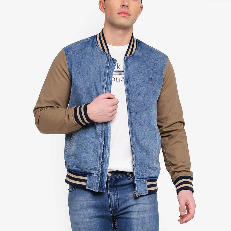 For autumn zipper fly multi colored bomber men jacket with pockets