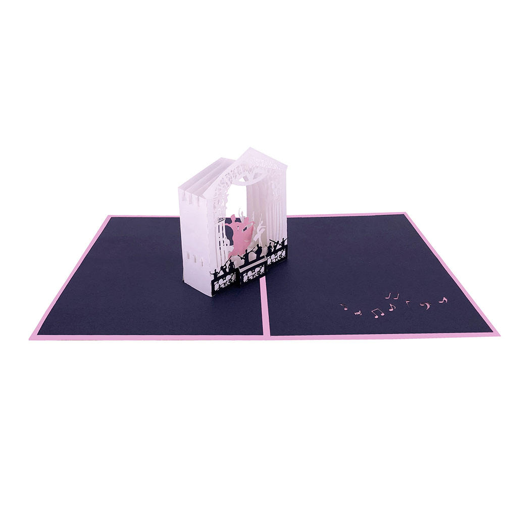 WINPSHENG color paper 3d wedding invitation card dance with music