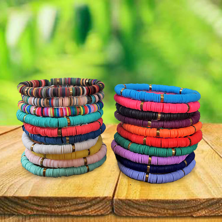 BP1005 Trial Jewelry Colorful Bohemian African Vinyl Discs Polymer Clay Disc Heishi Beads Elastic Bracelets