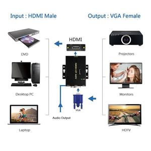 Black Portable VGA to HDMI Adapter with 3.5mm Stereo AV Cable   USB VGA to HDMI Converter with audio output