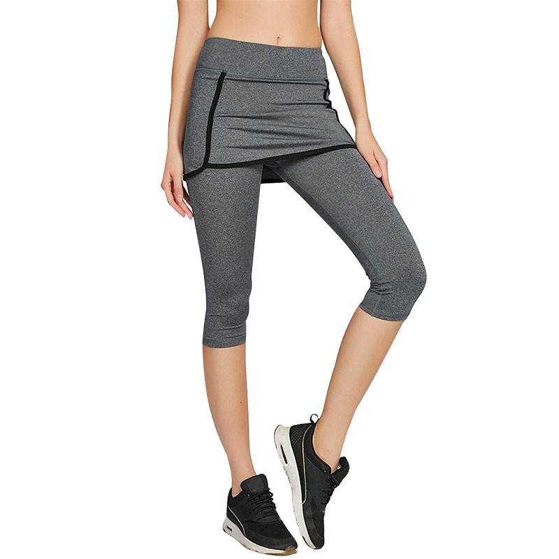 OEM 3/4 Compression Skirt Workout Capri Leggings with Pockets