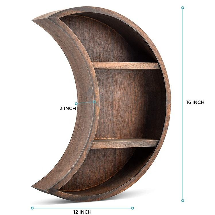 nordic pastoral wind home decoration floating moon wall mounted wooden shelf for living room bathroom kitchen