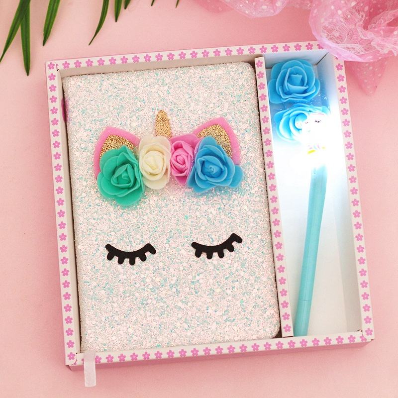 Factory Ins Colorful Bright Pink Glitter Notepad Flower Fairy Licorne Unicorn Notebook Gift Set Wholesale lovely notebook