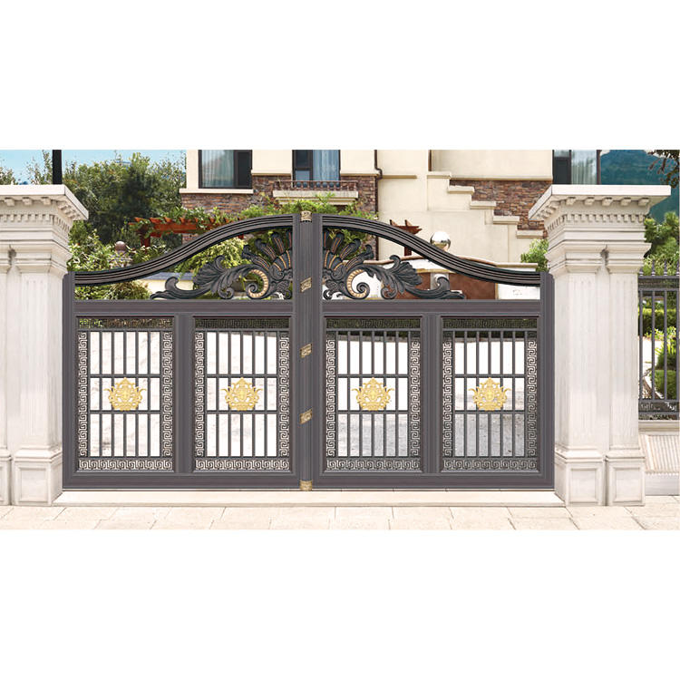 manual metal main double door sliding wrought iron motors parking speed gate ornaments design with galvanize sheet
