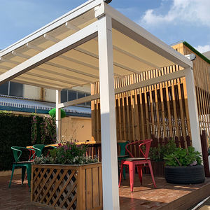 Outdoor PVC Fabric Metal Pergola Retractable Roof Awning Pergola Bioclimatic