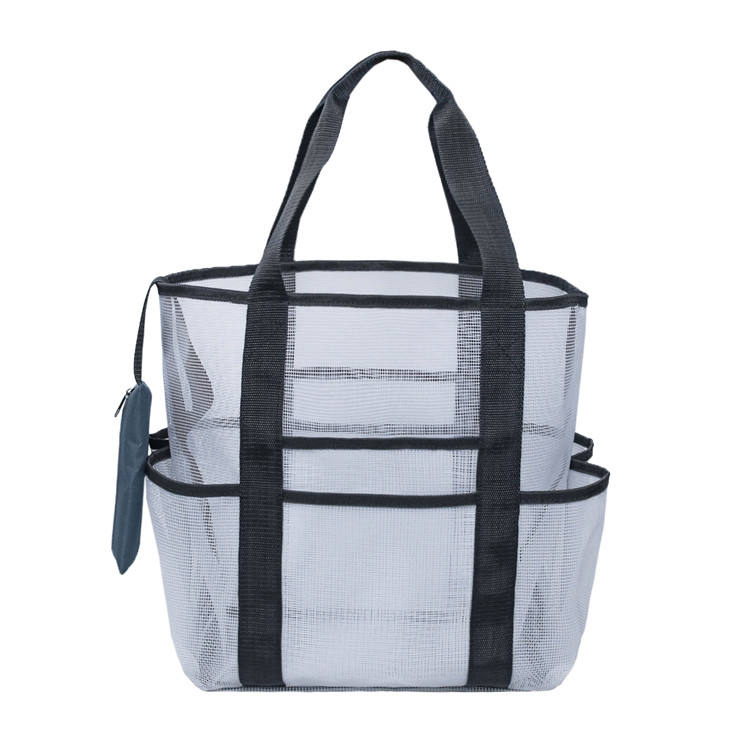 Large Toy Beach Mesh Tote Bag with Pockets for Towels