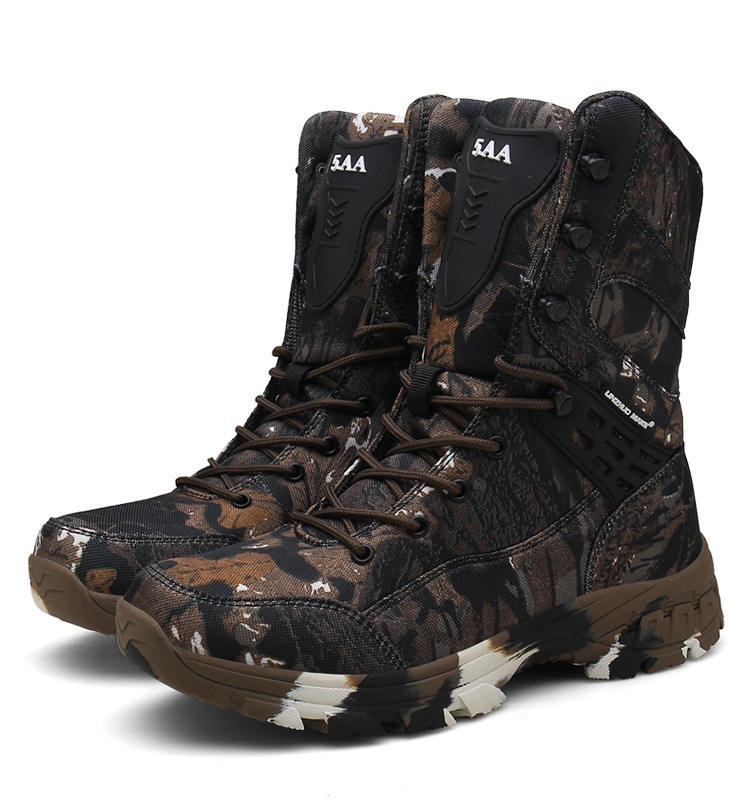 High Quality Waterproof Wear-resistant Large Size Outdoor High-top Camo Military Combat Boots For Men Hunting Desert Climbing