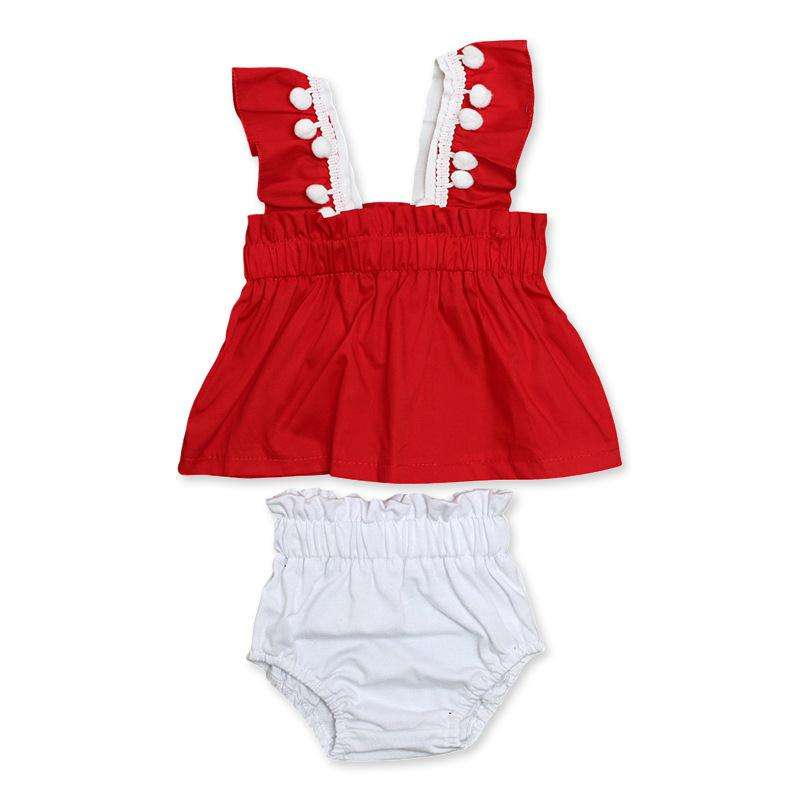Mode Peuter Kinderen Baby Meisjes T-shirt Rood Tops + Shorts Witte Broek Outfits meisje ruche Zomer kleding Set