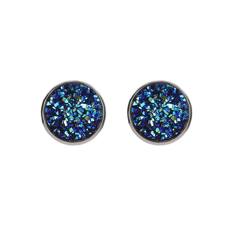 Shinning Round Dark Blue Multi Colors Druzy Stone Gemstone Charm Metal Silver Stud Earrings Sets For Women Jewelry