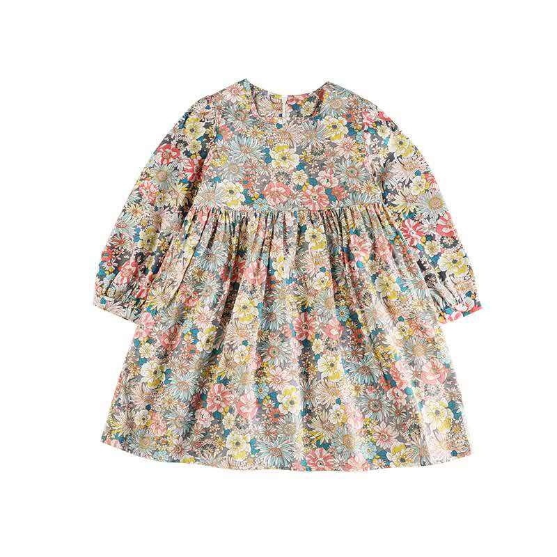Baby Boutique Girl Clothes Casual Long-Sleeve 100% Cotton Floral Girl Dress Kid Princess Dress