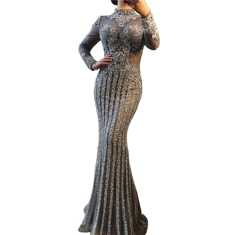 2020 Fashion Long Sleeve Beaded Arabic Evening Dresses Women Gray Muslim Formal Evening Gowns