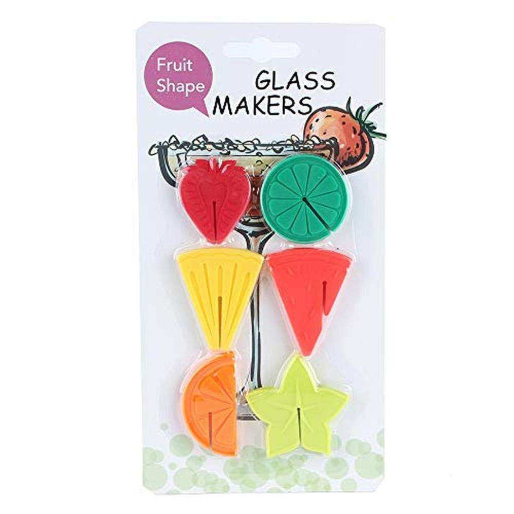 Fruit Themed Silicone Wine Glass Drink Charms Personalized Marker 6pcs