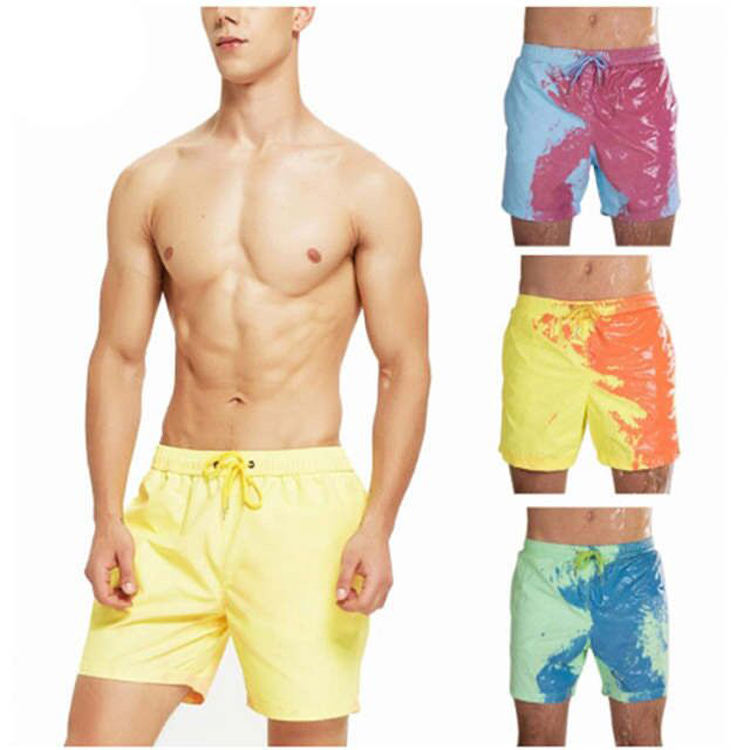 Custom logo men swimsuits change color quick dry beach short pants swimwear boardshorts color changing shorts swim trunks