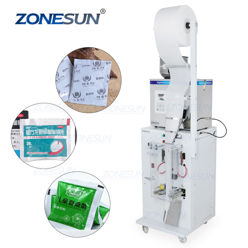 ZONESUN Food Coffee Bean Grain Automatic Weighing Packaging Machine Powder Bag Three Side Seal Filling Machine With Date Printer