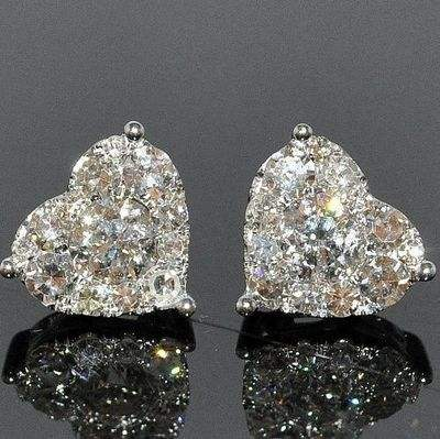 Fashion White Gold Filled Ear Stud Earrings Exquisite Simple Heart Temperament Shine Cubic Zirconia Earrings Wedding Jewelry