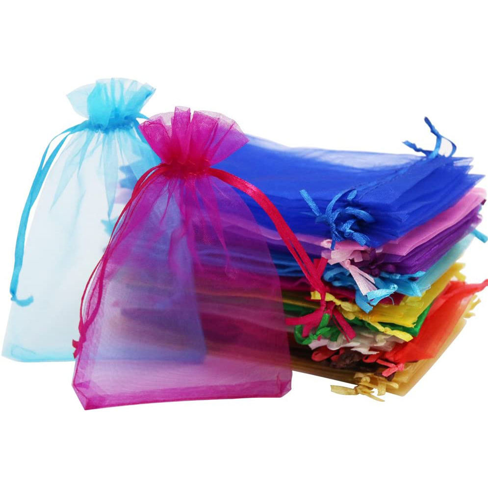 Colorful Pouches for Wedding with Custom Logo Organza Gift Bag Wholesale Drawstring Organza Pouch Jewelry Pouch Organza Bag
