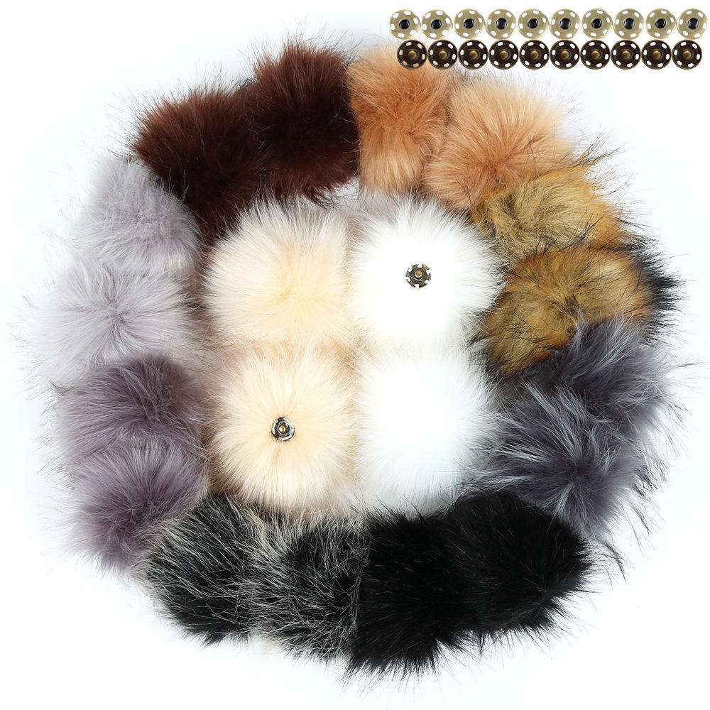 Fluffy wholesale faux fox animal fur pompoms Fluffy faux raccoon fur pom pom ball for shoes