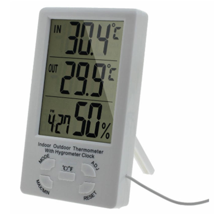 J&R Indoor Outdoor 1.5 Cable Sensor Digital Wet And Dry Thermometer Hygrometer
