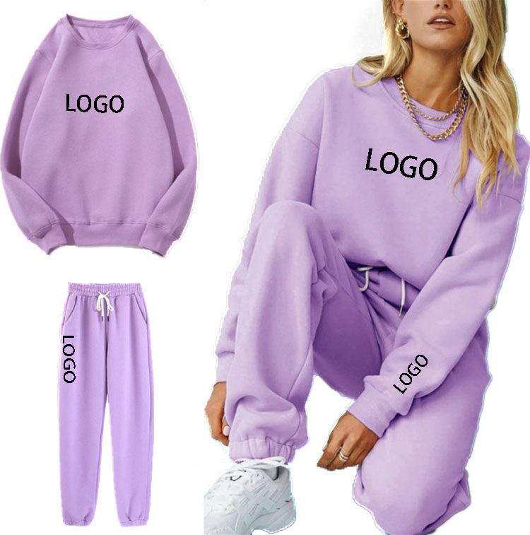 Custom solid crew neck sweat suit for women slim fit fleece sweat suit women plus size sport wear women joggers suits set