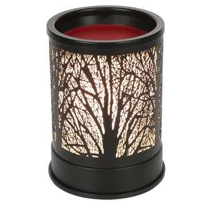 Wax Melts Candle Warmer Classic Black Metal Forest Design Fragrance Oil Warmer Lamp