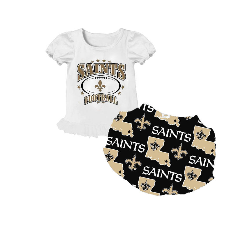 Kids Baby Girl Clothing Sets Saint Football T-shirt + Shorts 2PCS Suit Outfit Cheap Children Clothes Set