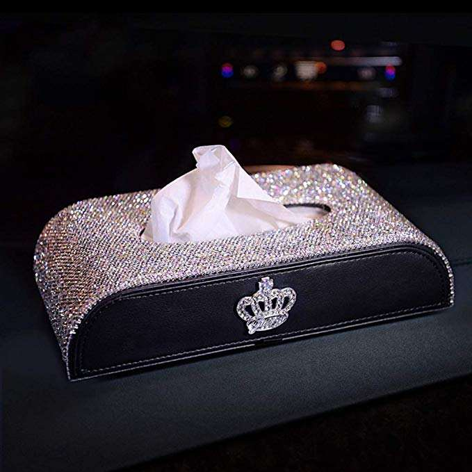 Auto Glitter Tissue Cup Holder Home And Office Bling Rhinestone Luxury Crystal Crown & Diamond Car Facial Tissue Box