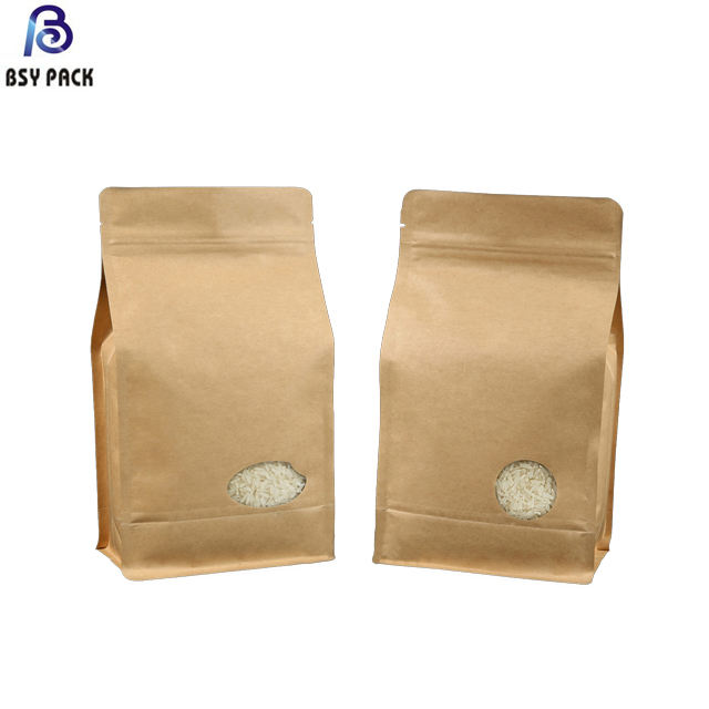 Biodegradable Rice Paper Bag Zip Lock Packing White Kraft Zipper Food Window Paper Bag Printed Logo