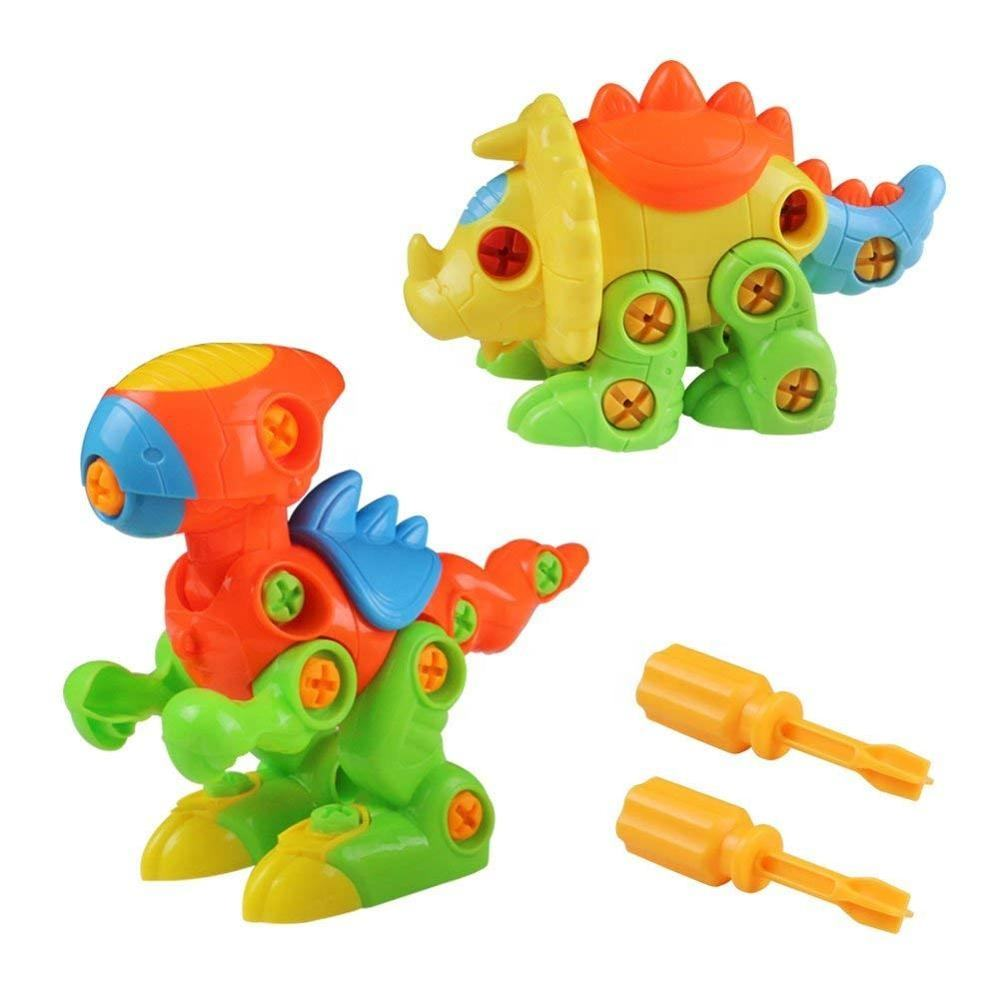 DISCOUNT Assemble and Disassemble Dinosaurs 2 Sets DIY Take-apart Pull Along Toys for Kids over 3 Years Old
