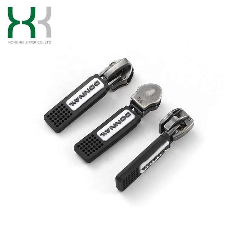 Alloy [ Fashion Slider ] Black Locked Zipper Sliders Fashion Auto Lock Zinc Alloy Zipper Slider Rubber Puller For Garments And Bags