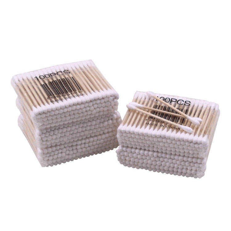 100pcs/pack Cotton Swab Bamboo Cotton Buds Micro Brushes Ear Sticks Reusable Cotton Swab Wadded Stick Wooden Ears Cleaning Tools