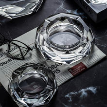 wholesale Octagon Large engraved logo crystal glass ashtray