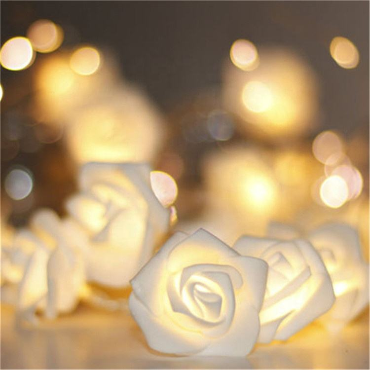 changing led lights flower motif light led wedding light white rose battery string