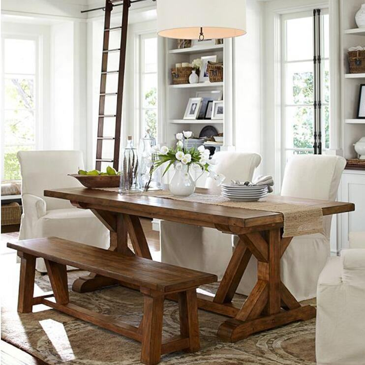 DIY Populas farmhouse solid wood dining table and bench set for home furniture