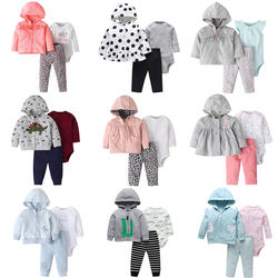 3piece hooded baby jacket with romper pants
