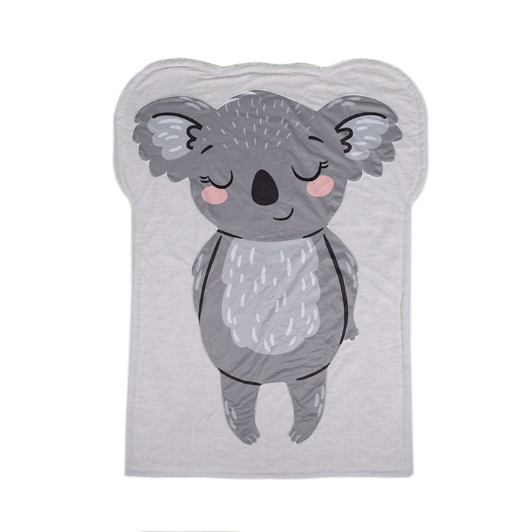 Blankets Manufacturers OEM ODM Soft Cute Cartoon Koala Character Portable Small Travel Throw Plush Thick Warm Micro Mink Sherpa Baby Blanket For Kids
