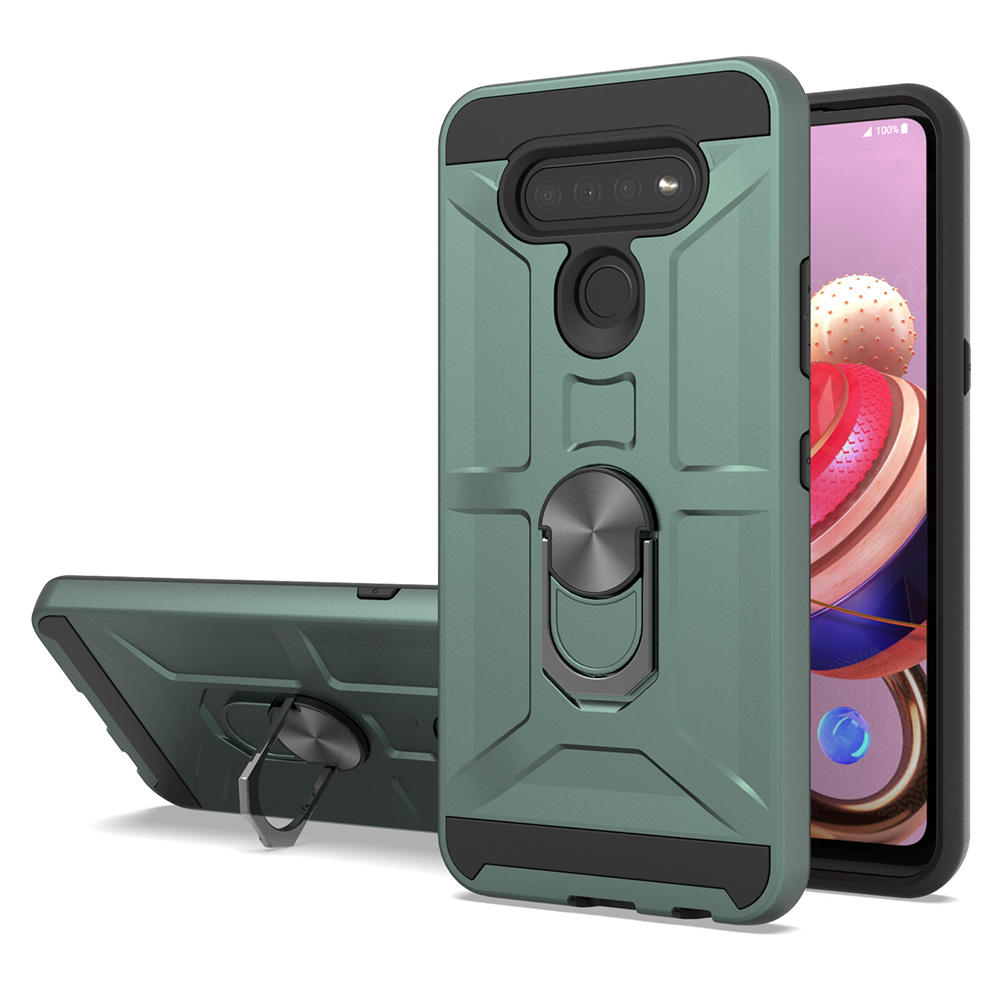 Midnight Green MetroPCS New Model Ring Kickstand Scratch-resistant Phone Case Cover for LG K51