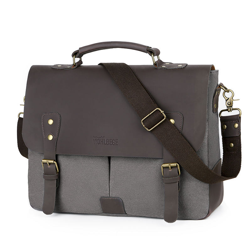 fashion business casual men sling bags leather vintage canvas laptop messenger bag shoulder