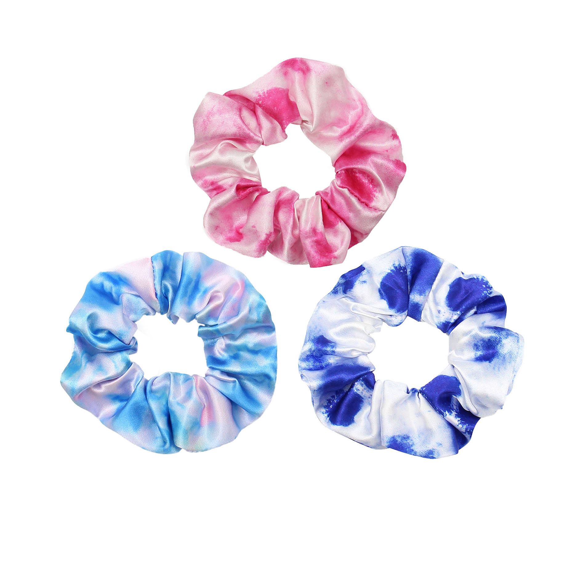 New style tie dye elastic hair band soft silk satin scrunchy hair ties for women and girls