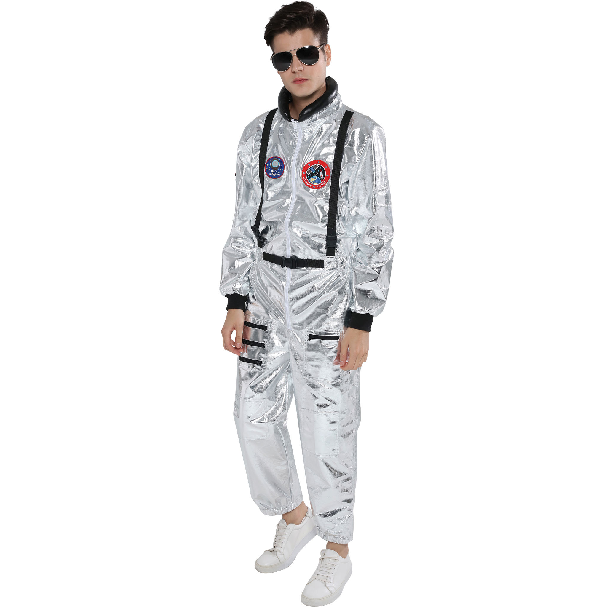 Amazon Top Seller Sliver Jumpsuit Spaceman Cosplay Halloween Kostum Pria Kostum Dewasa Astronot Kostum
