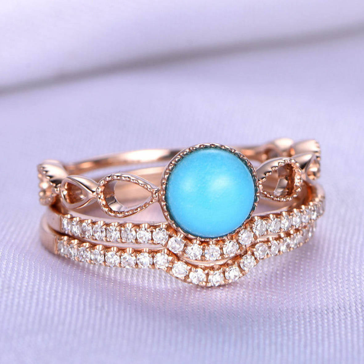 925 Sterling Silver Rose Gold Jewelry Natural Turquoise Wedding Ring Turquoise Stacking Rings