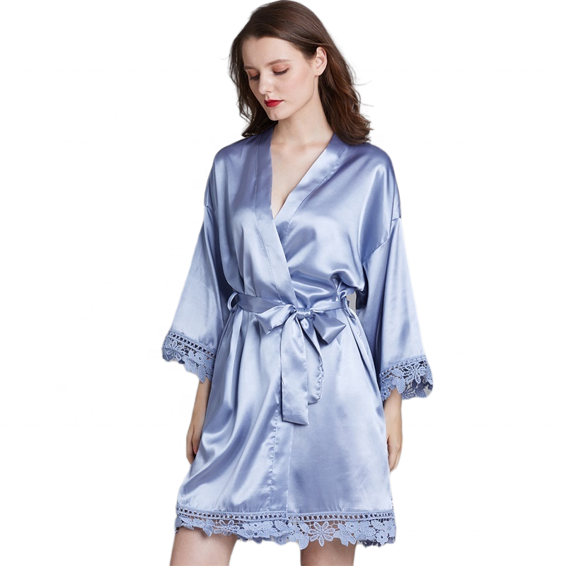 Bridal Bridesmaid satin silk lace trim blue robe for Wedding