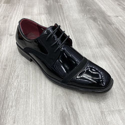 Square head bright patent leather Oxford style inner increased breathable thick bottom lace-up leisure dress men shoes