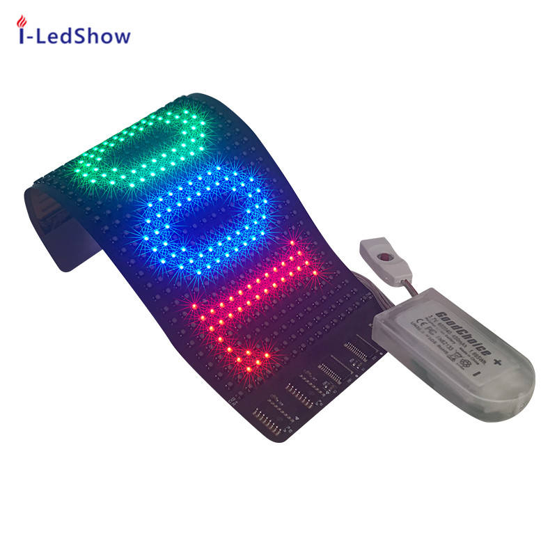 iledshow New style 16x32 RGB full color flexible mini led scrolling sign with smartphone bluetooth APP for led hat