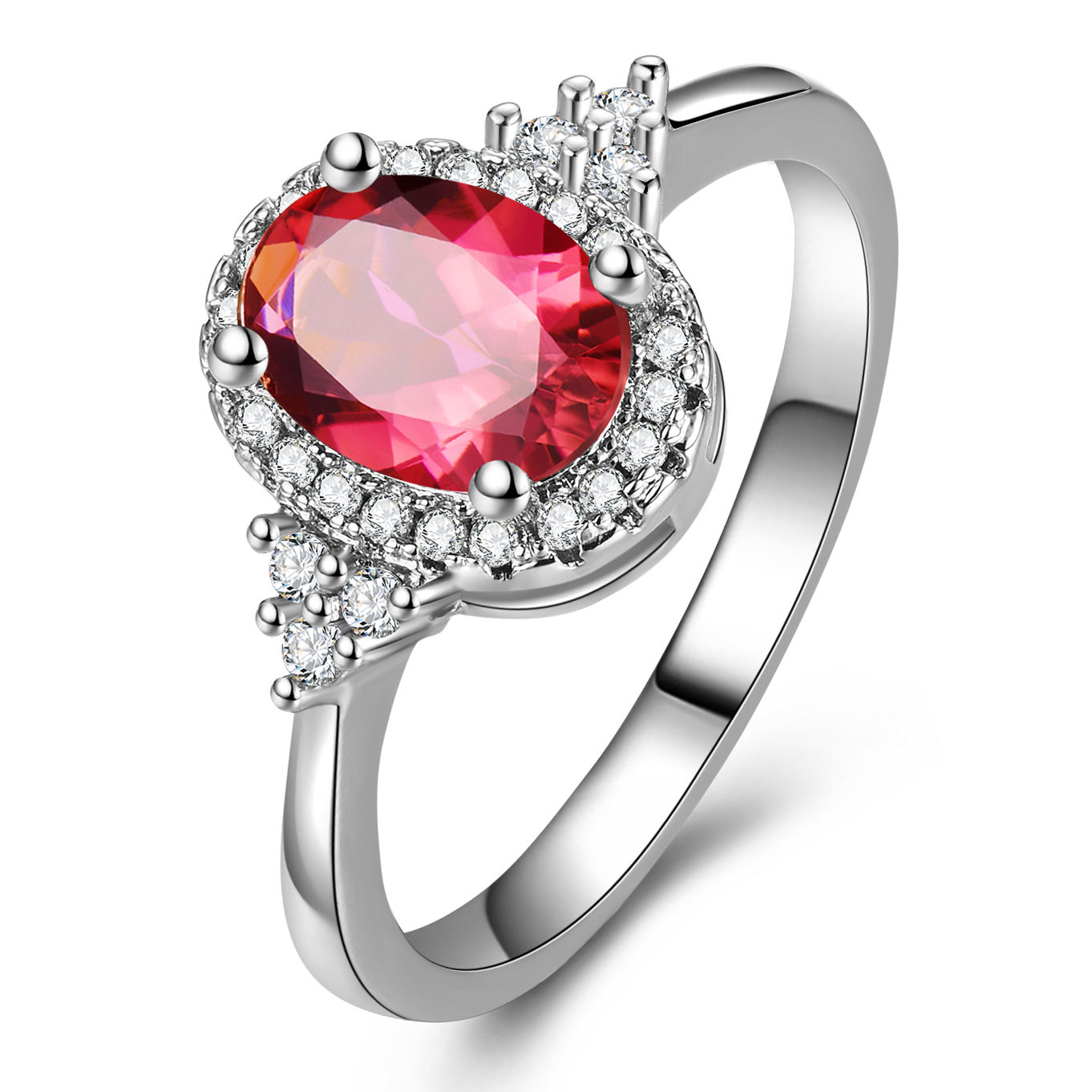 High quality red oval jewelry ring lady vintage zircon ring women gifts