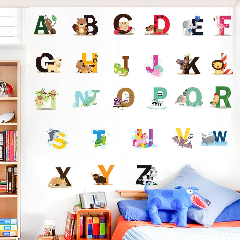 New removable cartoon animal school alphabet kids room wall stickers