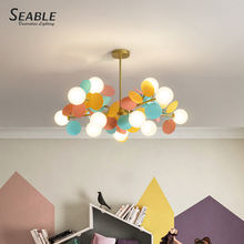 Hot selling modern nordic colourful iron hanging chandelier milky white glass pendant lights