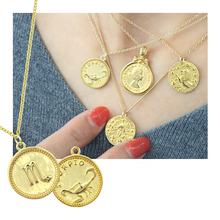 Silver 925 Sterling Jewelry Scorpio Gold Pendant Zodiac Disc 18K Solid Yellow Gold Plated Jewelry Necklace For Women