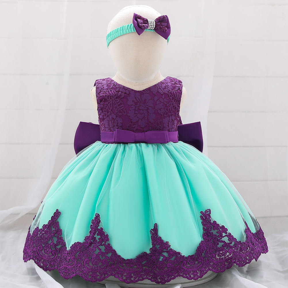 Hot new products kid clothes flower Birthday Children Baby Girls Party Dress Design L1911XZ